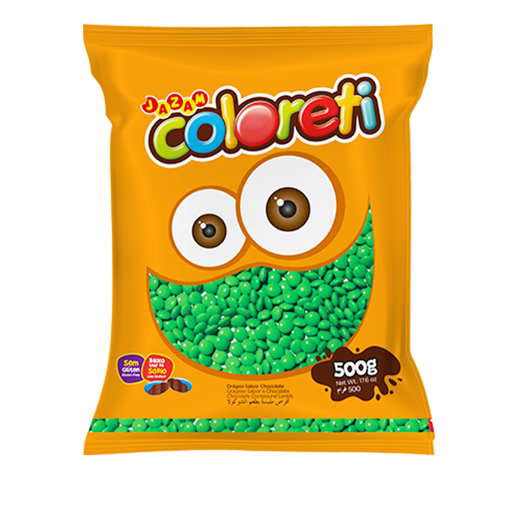 [67156] Confeito Mini Verde Coloreti Jazam 500g